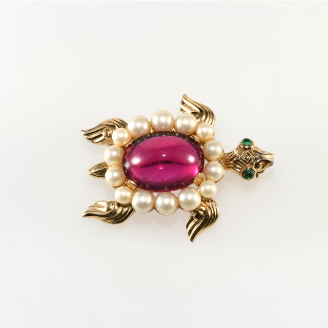 1940s 1940s Vintage Trifari Turtle Brooch Pin Cranberry Red Faux Pearls For Sale - Image 5 of 5