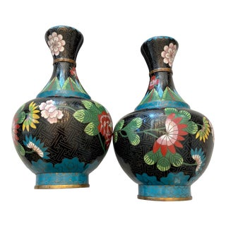 Antique Black and Turquoise Cloisonné Vases With Ruyi Border (Ca. 1910-1930) - a Pair For Sale