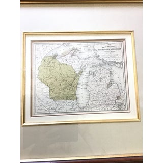 1990s Framed Wisconsin/Michigan Map Preview