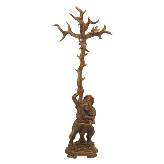 19th Century Black Forest Carved Walnut Gnome Coat Rack and Umbrella Stand For Sale