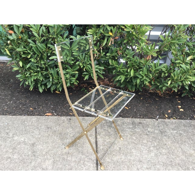 Vintage French Acrylic Folding Chair With Brass Base, C.1970s For Sale - Image 4 of 11