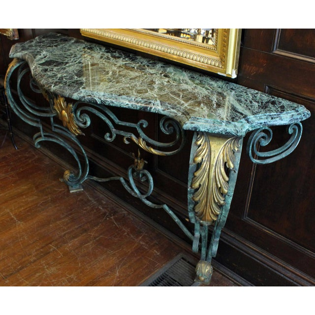 Scrolled Iron Marble Top Console Table For Sale - Image 4 of 8