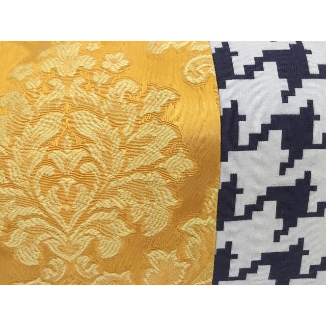 Contemporary brocade designer pillow. Traditional brocade fabric that has been reverse dyed to a warm brilliant gold and...