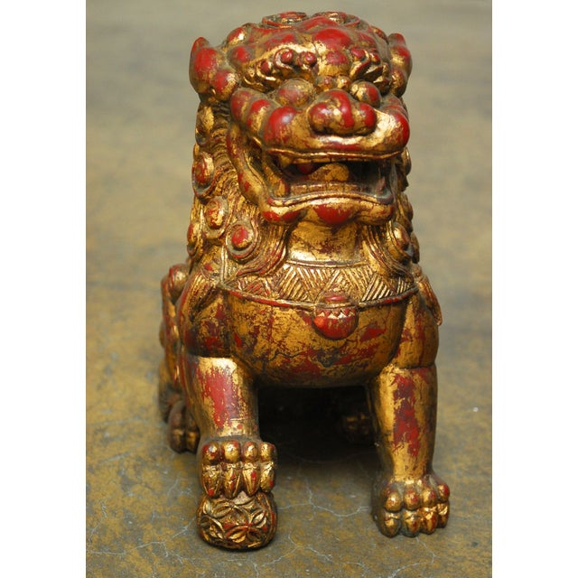 Large Chinese Gilt Temple Foo Dogs - Pair For Sale - Image 4 of 7