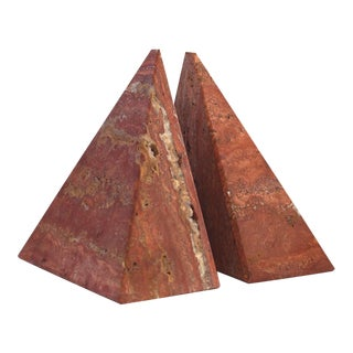 Pyramidal Stone Bookends - A Pair