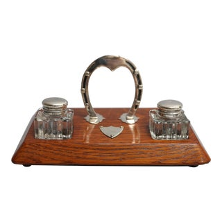 Antique English Equestrian Desk Set, Inkwells Circa 1910 For Sale