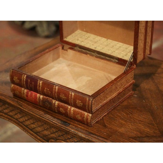 1920s Early 20th Century French Leather Bound Books Decorative Box With Drawer For Sale - Image 5 of 10
