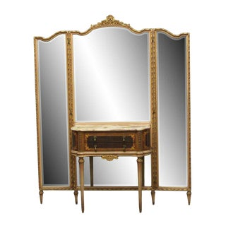 Antique Federal Style Folding Mirror Vanity Table For Sale