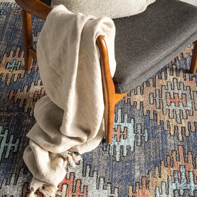 """Textile Jaipur Living Dez Indoor Outdoor Tribal Blue Orange Runner Rug 2'6""""X8' For Sale - Image 7 of 9"""