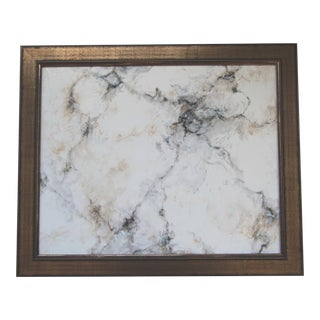 Absract White Faux Marble Trompe l'Oeil Painting by C. Plowden For Sale