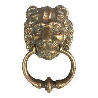 Antique English Lion Head Door Knocker For Sale