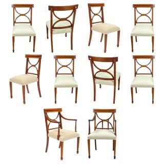 Sheraton Inlaid Mahogany Chairs- Set of 10 For Sale