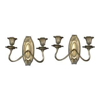 Late 19th C. Art Nouveau Bronze Sconces - A Pair
