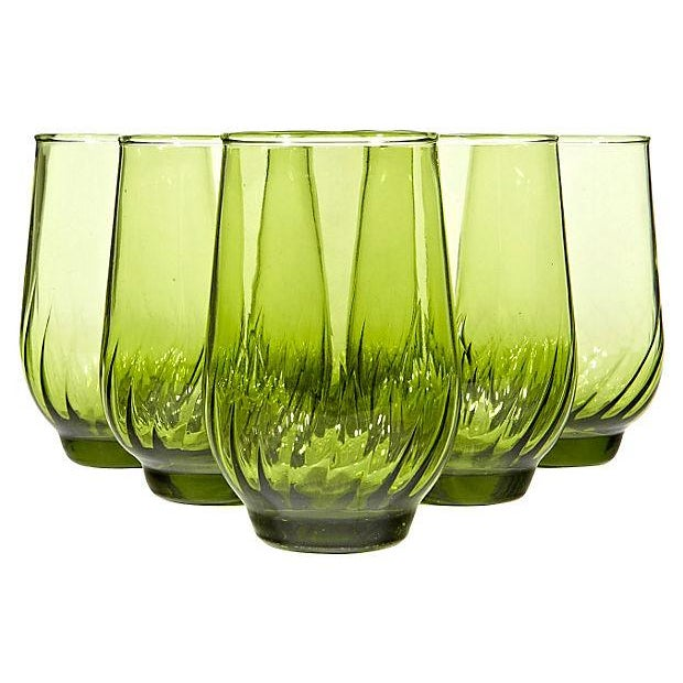 1960s Green Juice Glasses - Set of 6 - Image 1 of 3
