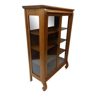 Antique Quarter Sawn Golden Oak Two Door Book Case/ China Cabinet For Sale