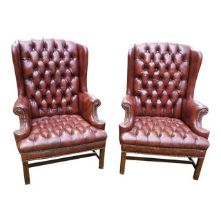 Vintage Tufted Leather Wing Chairs, a Pair For Sale