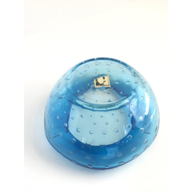 1960s 1960s Mid-Century Modern Kreiss Blue Bullicante Art Glass Dish For Sale - Image 5 of 7
