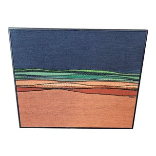 Abstract Modern Hand Woven Textile Art in Frame, 1960s For Sale