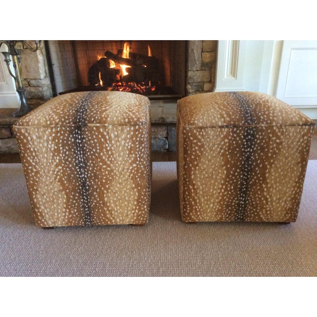 Modern Lee Antelope Chenille Fabric Square Ottomans- a Pair For Sale - Image 4 of 4