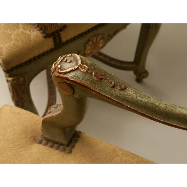 Louis XV 100% Original Antique Italian Painted Louis XV Armchairs - A Pair For Sale - Image 3 of 11