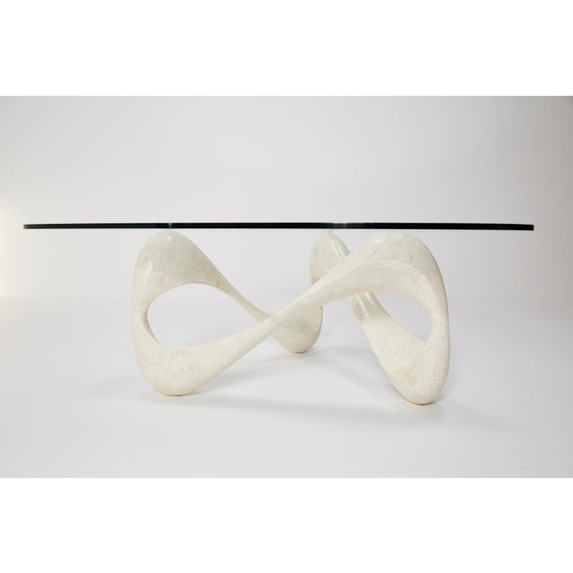 """1990s Contemporary Freeform White Tessellated Stone """"Cursive"""" Coffee Table For Sale - Image 11 of 13"""