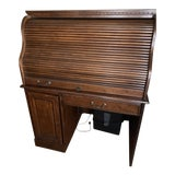 Image of Solid Wood Roll Top Secretary Desk For Sale