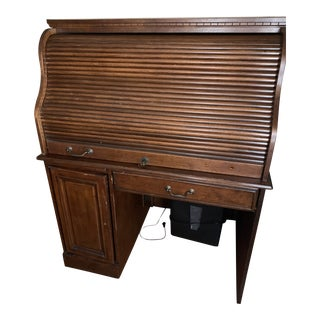 Solid Wood Roll Top Secretary Desk For Sale