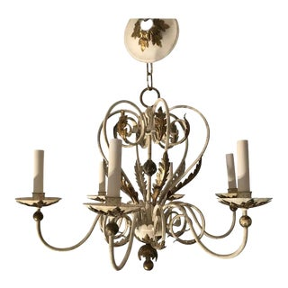 Shabby Chic White and Gold Washed Chandelier For Sale