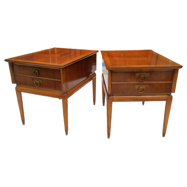 Mid Century Walnut Nightstands - a Pair - Image 1 of 10
