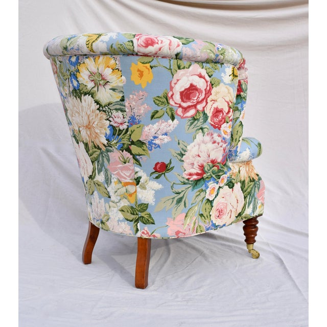 Baker Furniture Floral Tufted Wingback Chair on Brass Casters For Sale In Philadelphia - Image 6 of 13