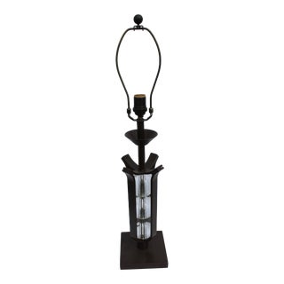 Deco Iron Forged and Glass Spheres Table Lamp For Sale