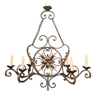 Early 20th Century French Verdigris and Gilt Six-Light Iron Chandelier For Sale