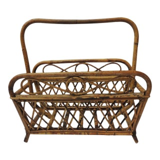 1980s Vintage Faux Tortoise Magazine Rack in Bamboo and Rattan For Sale