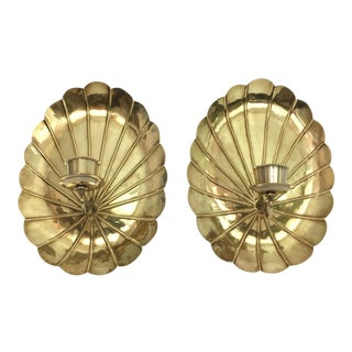 Brass Palm Frond Candle Holder Sconces - a Pair