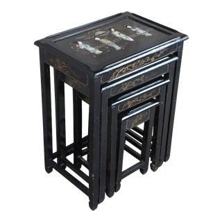 Vintage Black Lacquer Oriental Nesting Tables - Set of 4 For Sale