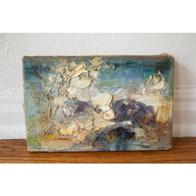 Antique abstract landscape oil painting with thick dimension and an artful hand. Signed.