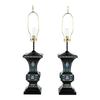 Late 19th Century Chinese Cloisonne Table Lamps - a Pair For Sale