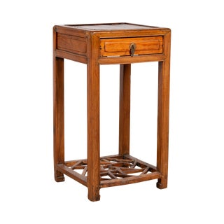 Chinese Vintage Elmwood Lamp Table With Single Drawer and Cracked Ice Shelf For Sale