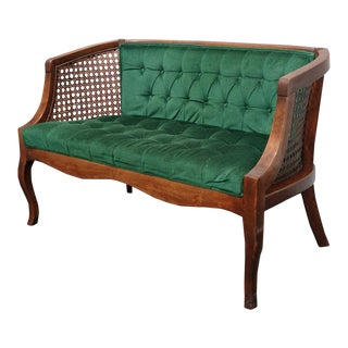 Vintage French Country Tufted Green Velvet Settee Loveseat W Cane For Sale