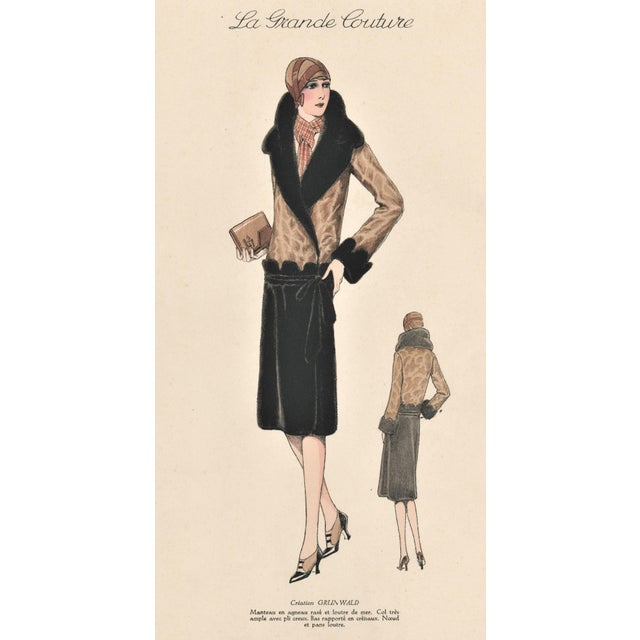 1920s French Art Deco Couture Fashion Print For Sale - Image 4 of 5