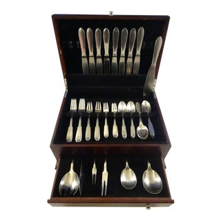 Mitra Mirror by Georg Jensen Stainless Steel Flatware Set for 8 Service Estate For Sale