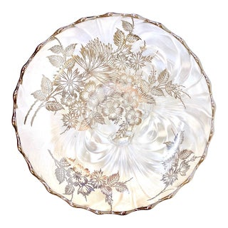 1950s Silver Floral Inlay Textured Shallow Dish or Bowl For Sale