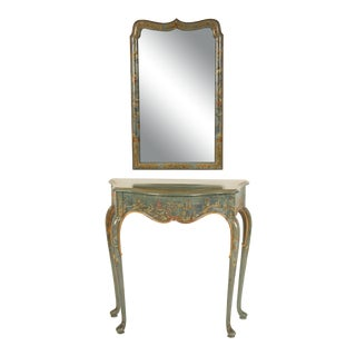 Chinoiserie Decorated Console and Mirror For Sale