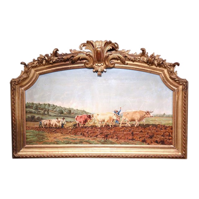 Early 20th Century French Oil Cows Painting in Carved Arched Gilt ...