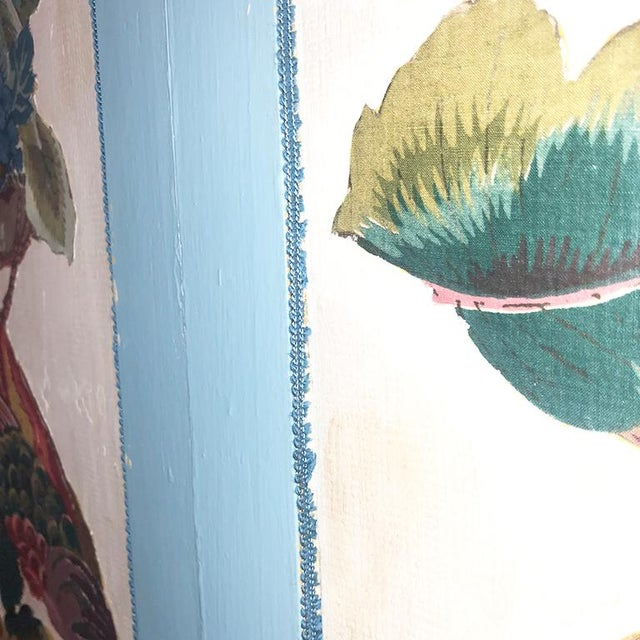 Paint Vintage 4 Panel Chinoiserie Bird and Flower Motif Blue Divider Screen For Sale - Image 7 of 9