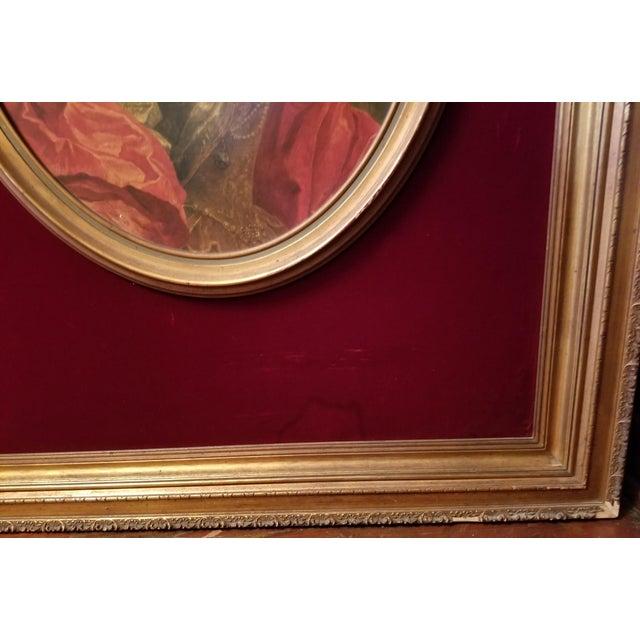 Victorian Lady Matted Red Velvet Framed Portrait Print For Sale - Image 4 of 7