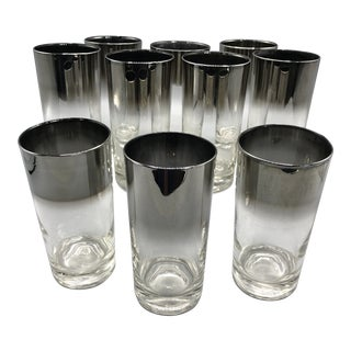 Mid-Century Modern Vitreon Queens Lusterware Silver Fade Tumblers - Set of 10 For Sale