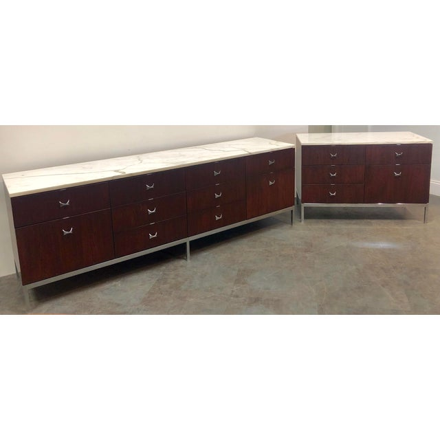 1960s Mid-Century Modern Florence Knoll Rosewood and Marble Credenza Ensemble - 2 Pieces For Sale - Image 13 of 13