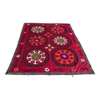 Vintage Handmade Colorful Bedspread For Sale