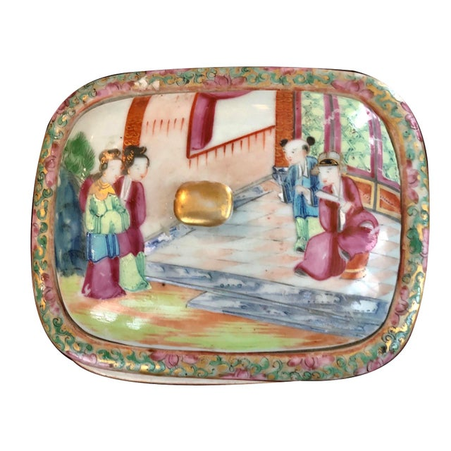 Figurative Chinese Early 19th C. Mandarin Porcelain Soap Dish For Sale - Image 3 of 6
